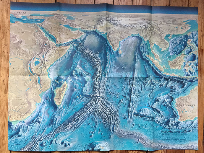 1967 National Geographic Map of Indian Ocean