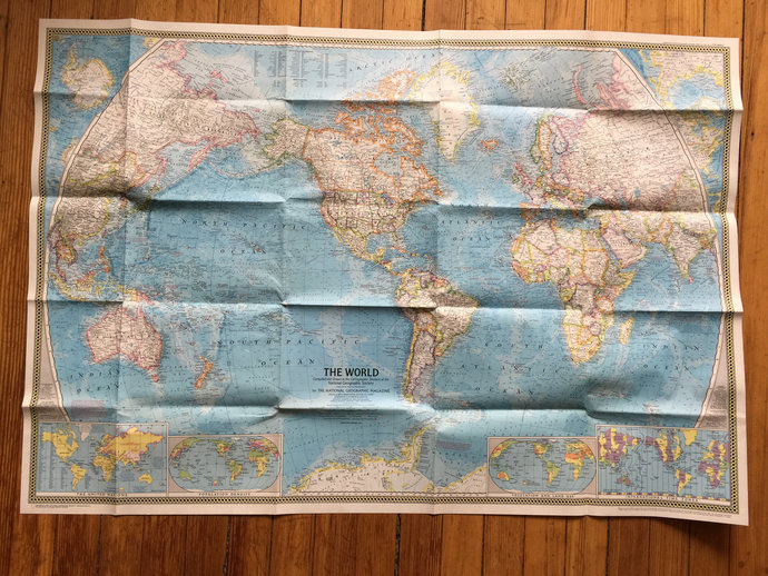 World Map National Geographic 1970 Double Sided Large World Map Pollution Map