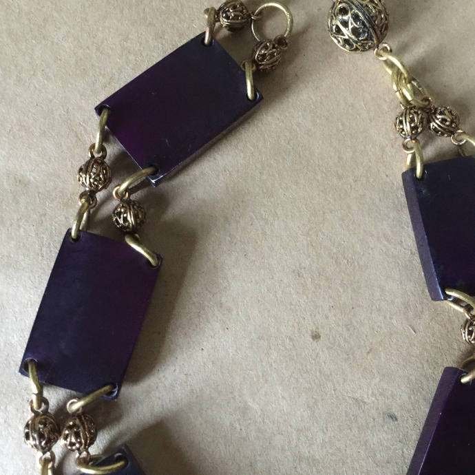 Purple Square Bead Choker Hippie Necklace