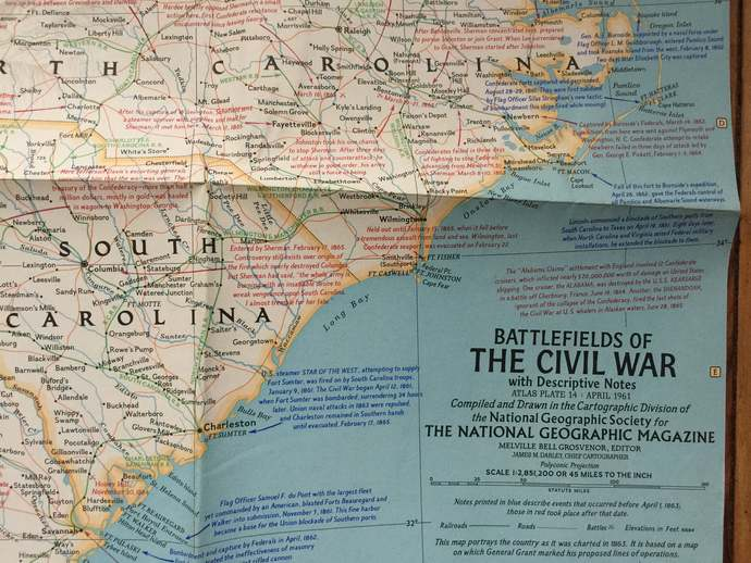 1961 Map of Battlefields of the Civil War National Geographic Map