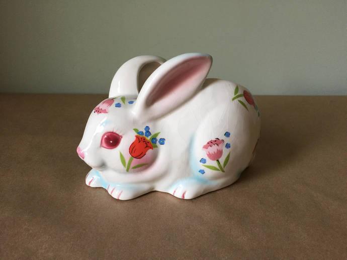 White Rabbit with Floral Design Figurine Bunny Rabbit Easter Decor Ceramic