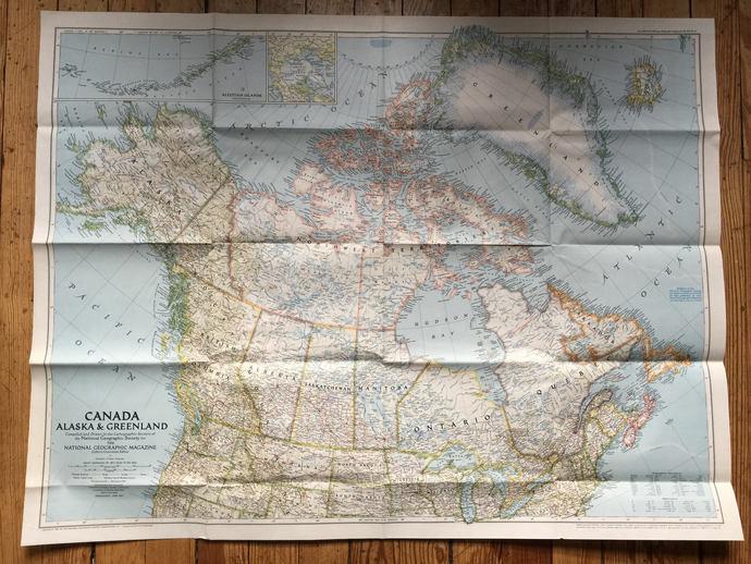 1947 National Geographic Map Canada Greenland Alaska Vintage North America