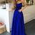 A-Line Royal Blue Long Prom Dresses Satin Formal Evening Dresses