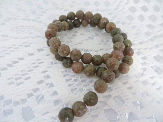 A Full strand of Autumn Jasper  8mm C grade round gemstones