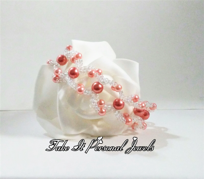 Pearl and Crystal handmade bracelet coral glass pearls lace style
