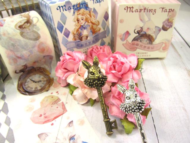Alice in Wonderland Rabbit Bunny Key Pendant Metal Charm - Silver/Bronze