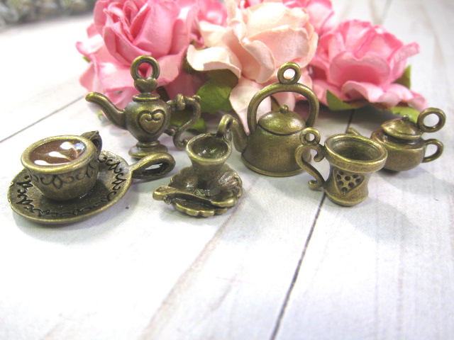 Alice in Wonderland Tea Party Metal Charm Set- 10pc Silver, 6pc Bronze