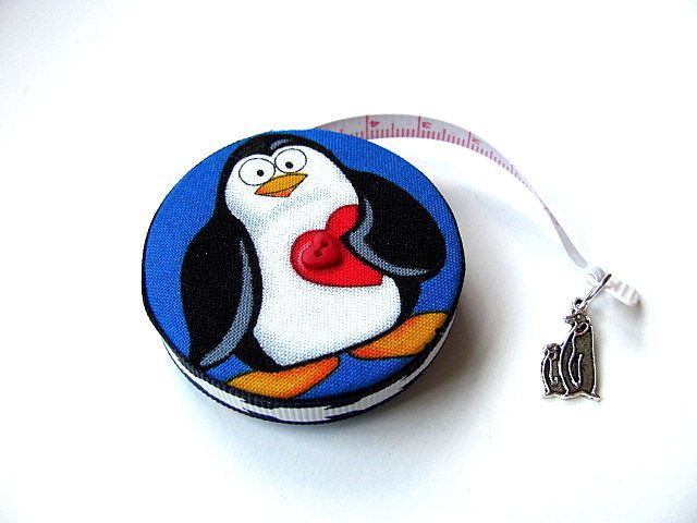 Retractable Tape Measure Hearts and Penguins Measuring Tape