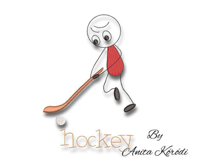 Hockey players embroidery machine designs pes design sport pattern funny hoop