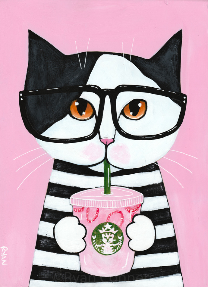 Kitty Loves the Pink Drink Original Coffee Cat Folk Art Painting