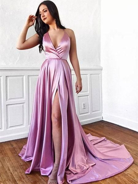 Halter Pink V-neck Long Train Prom Dress With Splits Prom Gowns