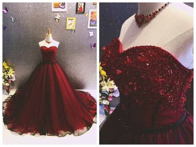 Wine Red and Black Sweetheart Beaded Tulle Gown, Sweet 16 Gowns
