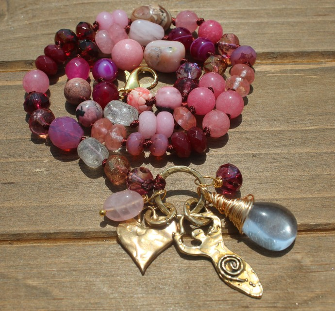 Pink Gemstone Beaded Necklace Hand Knot Goddess & Heart Jewelry by KnottedUp