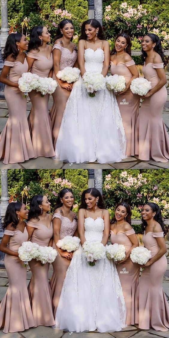 gorgeous off the shoulder pink mermaid long bridesmaid dresses wedding party