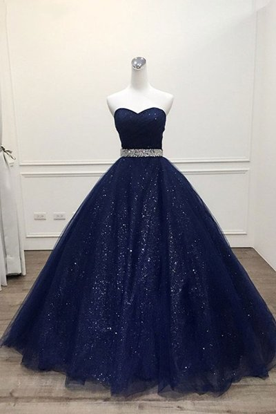 Stunning Navy Blue Tulle Strapless Long Sequins Prom Dress, Evening Dress D-070