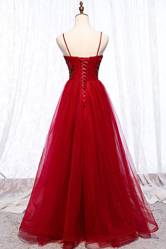 Burgundy Tulle Spaghetti Straps Long V Neck Lace Up Prom Dresses D-071