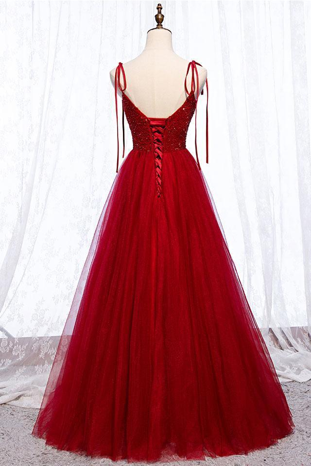 Unique Burgundy Tulle Crystal Beads Long A Line Prom Dress, Evening Dress D-072