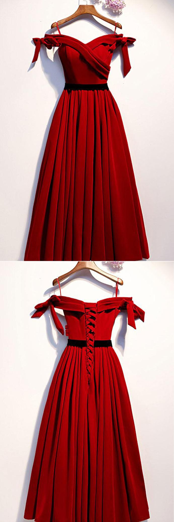 Simple Burgundy Satin Off Shoulder Tea Length Party Dress, Prom Dress D-073