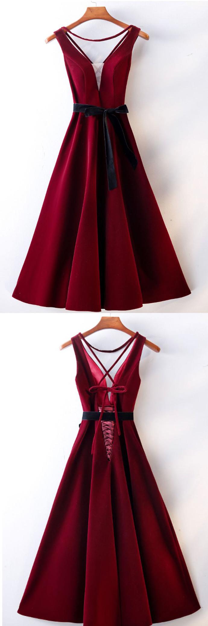 Burgundy Satin V Neck Mid Length Prom Dress, Bridesmaid Dress With Sash D-074