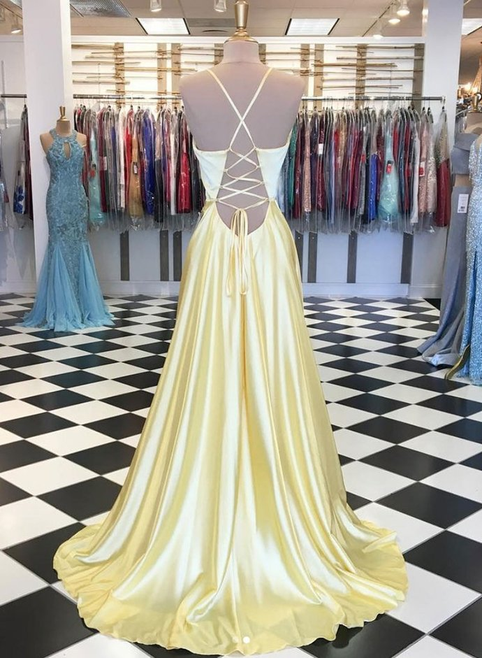 Yellow Satin V Neck Long Open Back Prom Dress, Evening Dress D-075