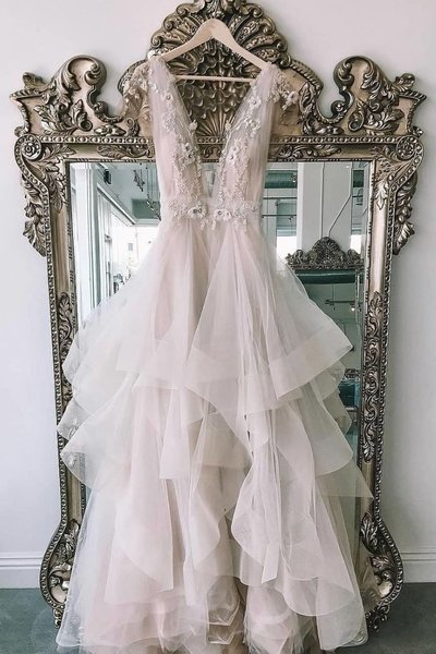 Light Gray Tulle V Neck Lace Applique Long Layered Prom Dress, Evening Dress