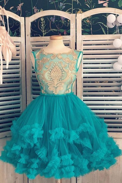 Blue Tulle Gold Lace Applique Short Halter Prom Dress, Homecoming Dress D-078