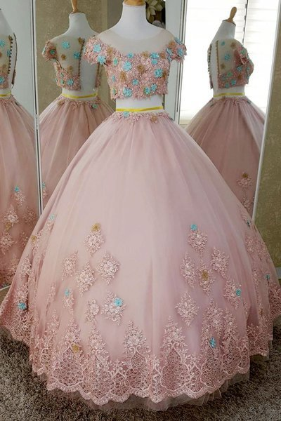 Pink Tulle Two Pieces Cap Sleeve Sweet 16 Prom Dress With 3D Lace Applique D-079