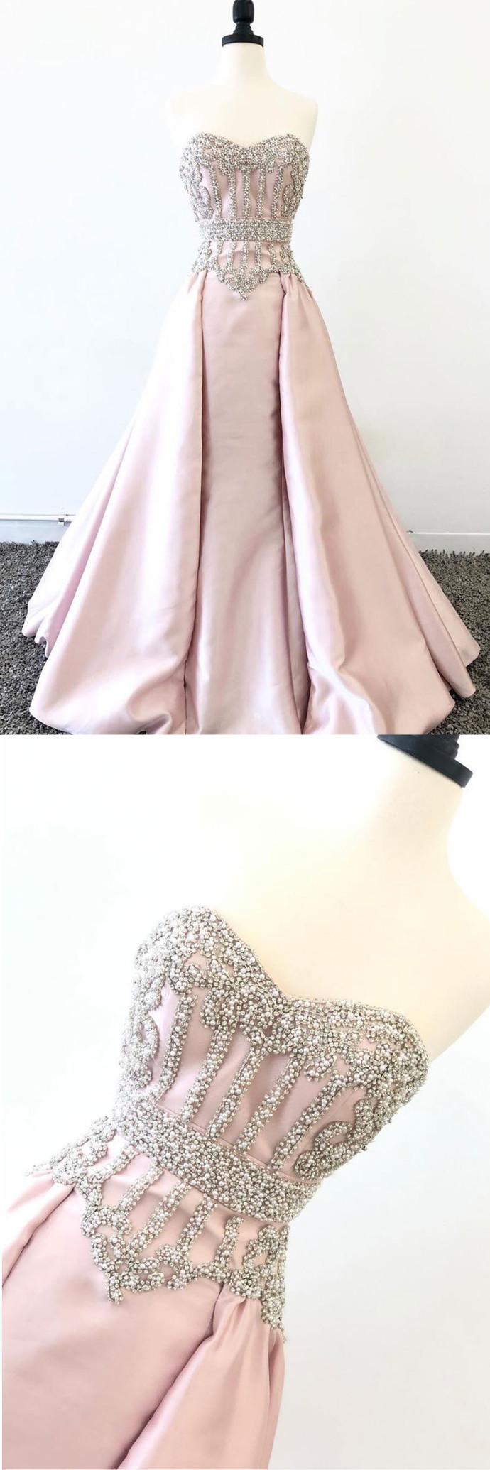 Sweetheart Neck Pink Satin Pearl Beaded Long Prom Dress, Evening Dress D-080