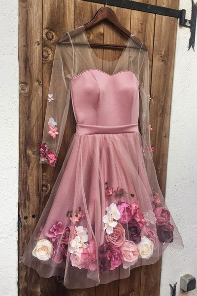 Pink Tulle Flower Applique Long Sleeve Short Prom Dress, Party Dress D-082