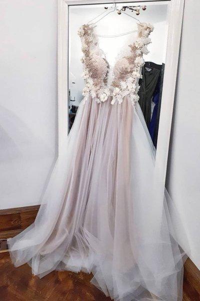 Spring Long Tulle 3D Lace V Neck Long Prom Dress, Evening Dress D-083