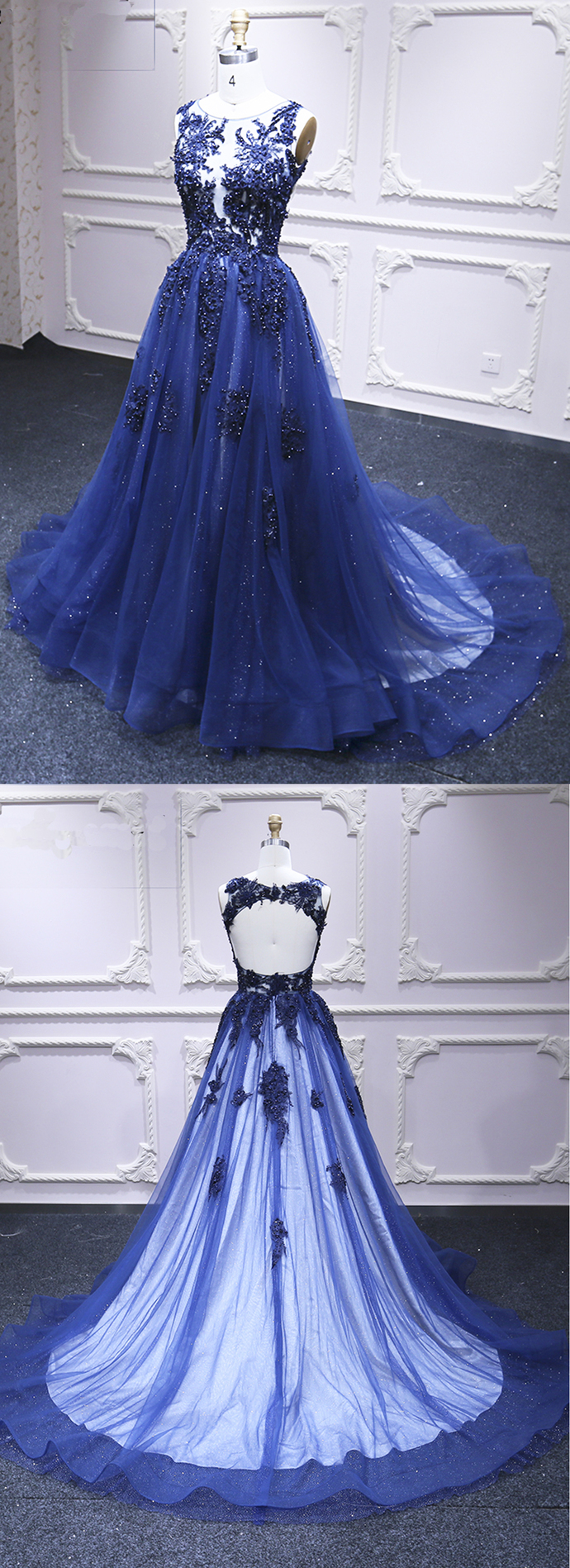 Deep Blue Tulle Open Back Long A Line Pageant Prom Dress, Lace Evening Dress