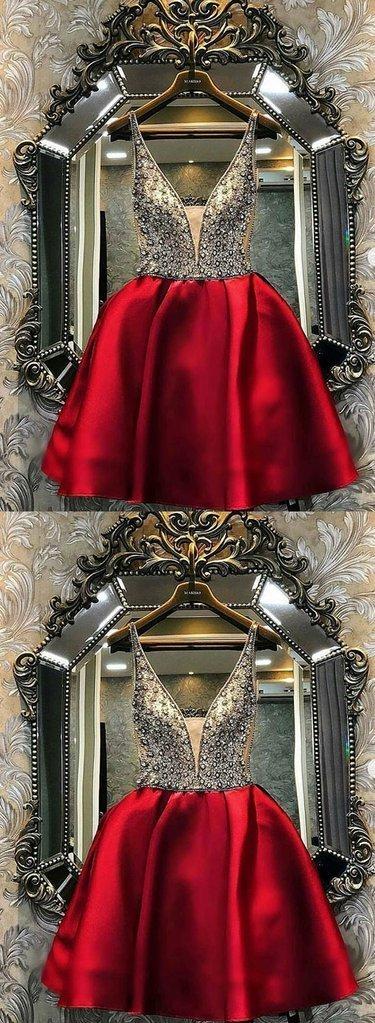 Burgundy V Neck Short Beading Prom Dress, Homecoming Dress D-086