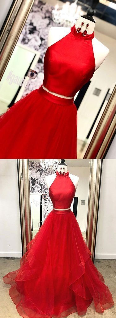 Red Tulle Satin Two Pieces Long Layered Prom Dress, Red Evening Dress D-088