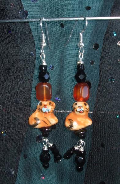 Tiger Earrings with Carnelian