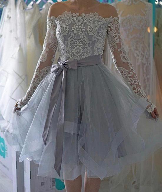 Long Sleeve Tulle Appliques Homecoming Dress, Elegant Short Prom Dresses, Pretty