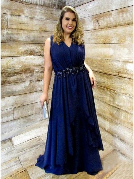 Navy Blue A Line Evening Dress, Plus Size Mother of Dress, Long Formal Gown