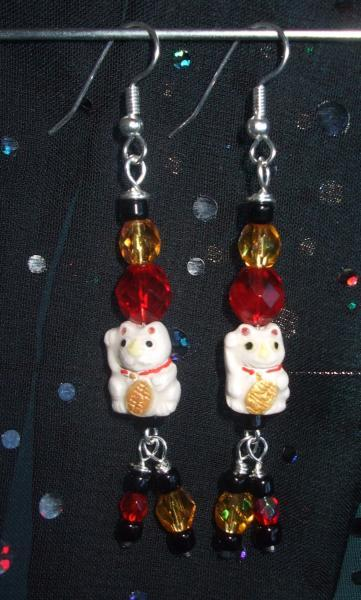 Maneki Neko Traditional Style Cats Earrings