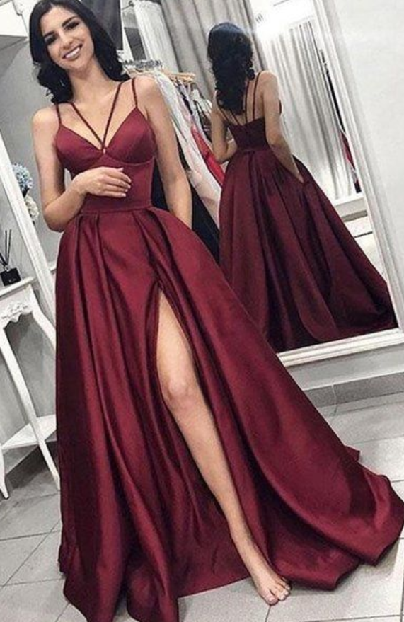 A Line V Neck Spaghetti Straps Satin Burgundy Prom Dresses with Pockets