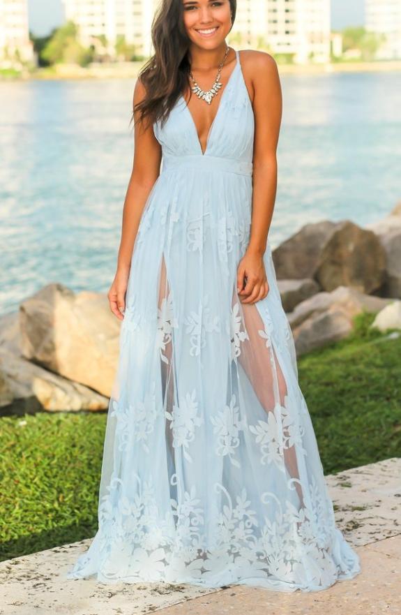 Light Blue evening dress,Floral V-Neck party dress, Lace long prom dress,