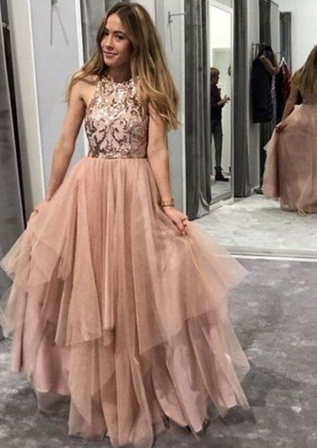 CHAMPAGNE ROUND NECK TULLE SEQUIN LONG PROM DRESS, EVENING DRESS