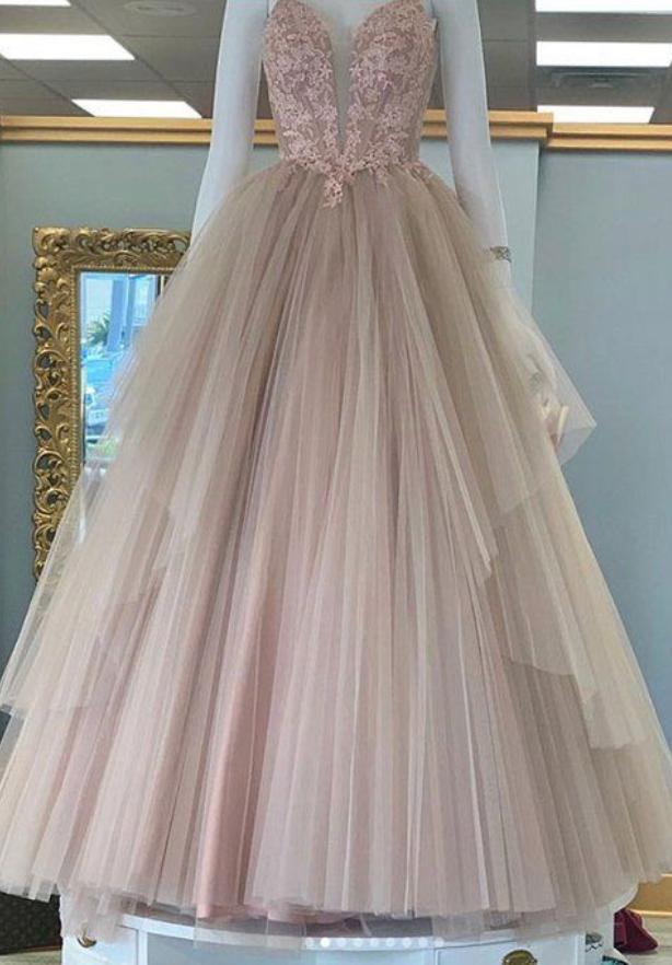 Stylish sweetheart neck tulle lace long prom dress, evening dress