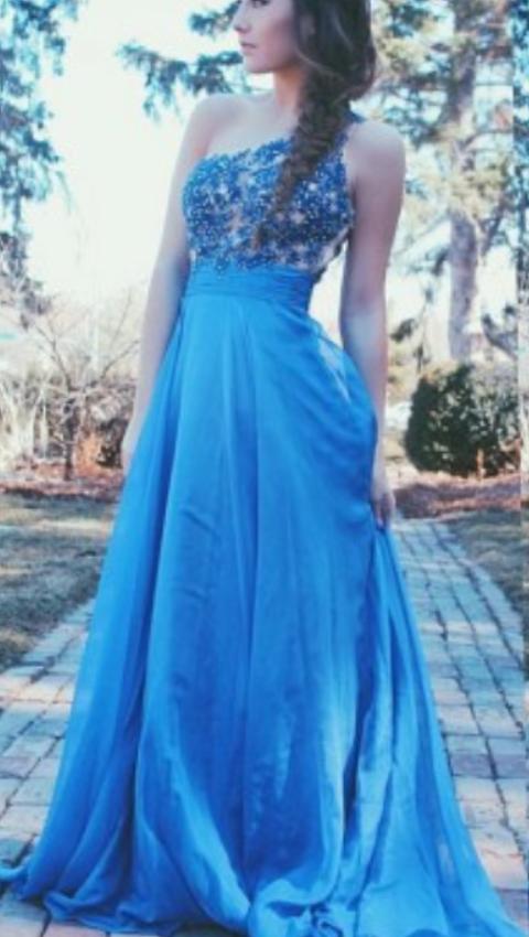 Applique Blue Prom Dress,One Shoulder Prom Dresses, Prom Dresses,Evening Dress
