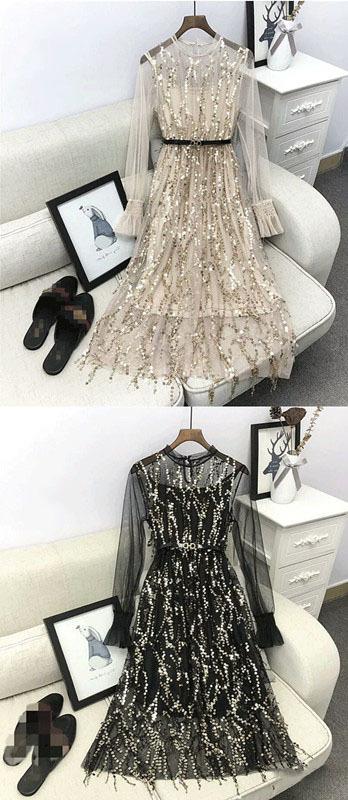 Sequin Long Sleeve Prom Dress,Evening Dress