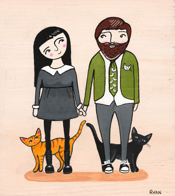 Cat Family Portrait with Dad Cat Folk Art Painting