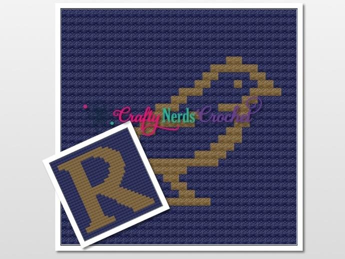 Ravenclaw Pillow Set  Pattern Graph With Mini C2C Written
