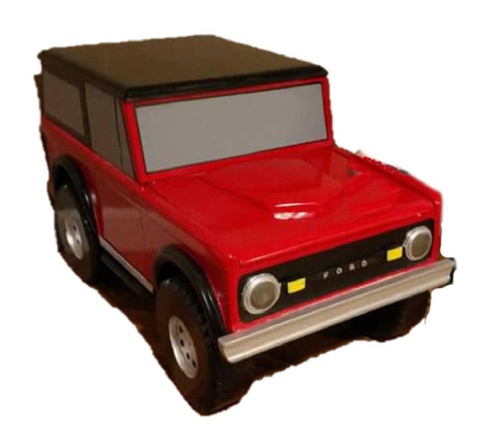 Custom Carved Wooden Bronco Toy Box / Personalized License Plate with Childs