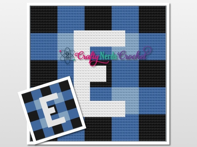 Buffalo Plaid With An E  Pattern Graph With C2C Written