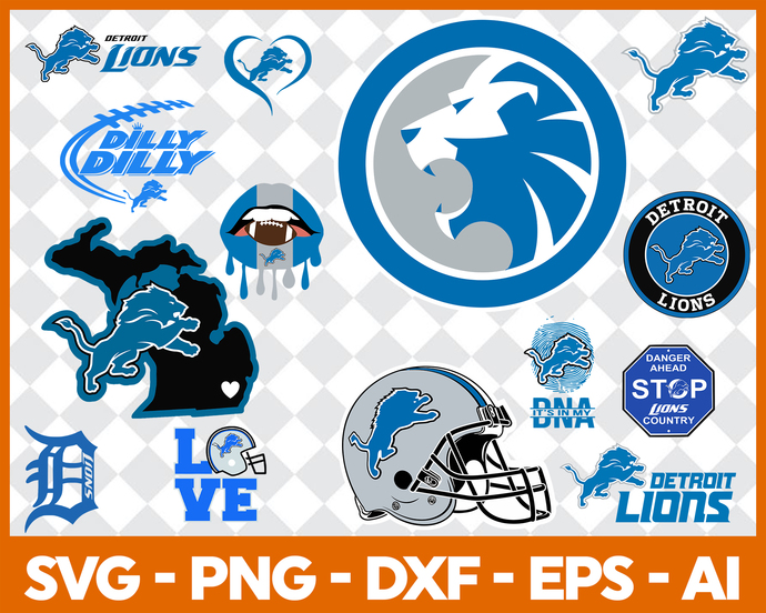 Detroit Lions Svg Detroit Lions Files Lions Logo Football Silhouette Cameo Cricut Cut Files Digital Clipart Layers Png Dxf Ai