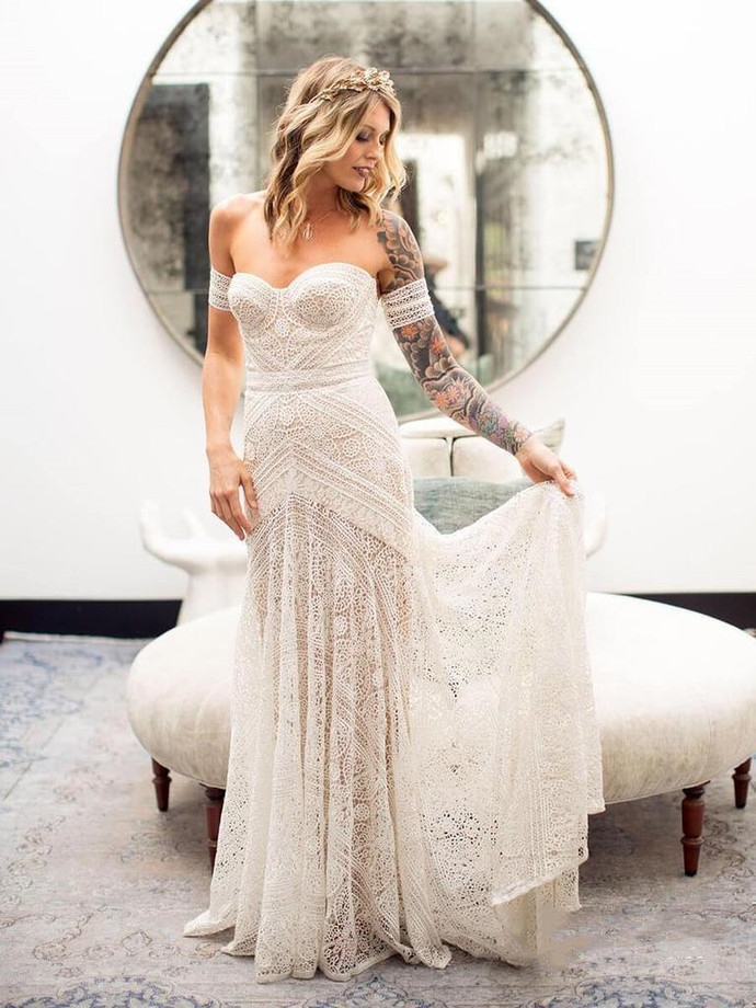 Sweetheart Neck Ivory Lace Beach Wedding Dresses Boho Wedding Dresses