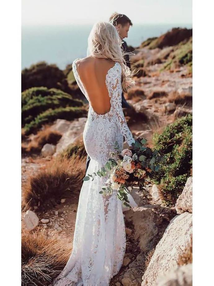 Sexy Open Back Lace Rustic Wedding Dresses Long Sleeve Mermaid Wedding Dress
